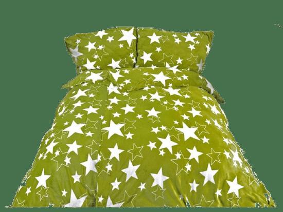 Povlečeme vše Obliečky Mikroflanel - zelené hviezdy