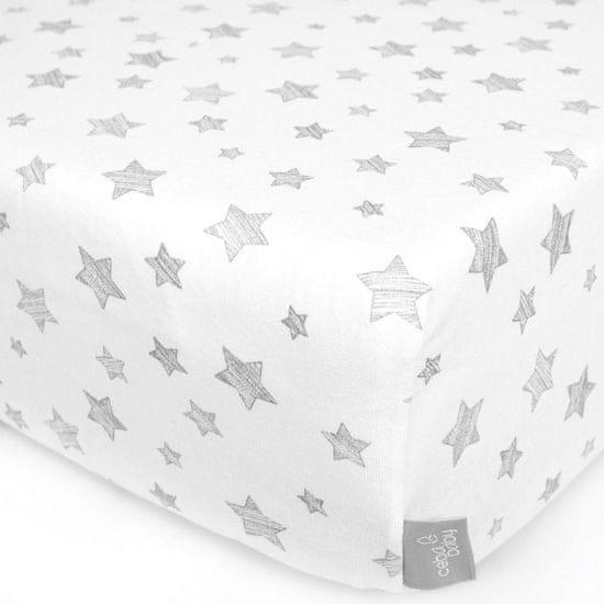 Ceba Baby Dzsörzé lepedő huzat gumival 120x60, Grey Stars