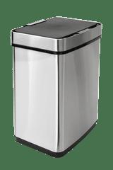 iQ-Tech iQtech Luxe Quadrat 50 l, bezdotykový odpadkový koš Lux hranatý, stříbrný