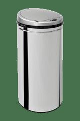 iQ-Tech Ronda 40 l, bezdotykový odpadkový koš kulatý, stříbrný