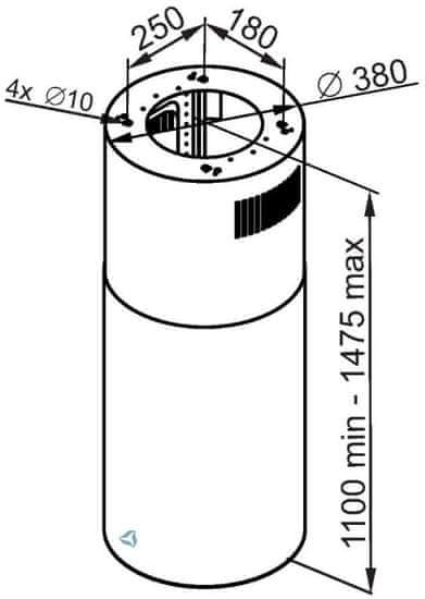 Ciarko Design Ostrovčekový odsávač Tubus W Black (CDW3801BL) + 4 roky záruka po registraci