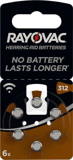 Rayovac PR41/312A - zinc-air batéria do načúvacích prístrojov, 1.4 V - 6ks blister; 4607 945 416