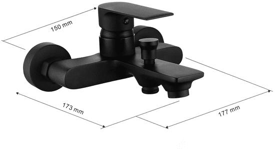 Mexen Royo vaňová batéria so sprchovým setom R72, čierna - 7223R72-70