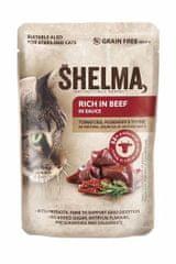 SHELMA SHELMA Cat hovězí s rajčaty a bylinkami v omáčce, kapsa 85 g