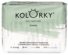 KOLORKY DAY NATURE - listy - S (3-6 kg) - 25 ks - jednorázové eko plenky