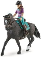 Schleich Hnědovláska Lisa s pohyblivými klouby na koni