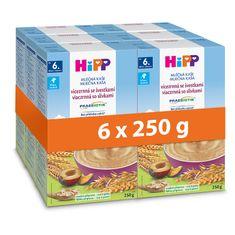 HiPP Mléčná kaše PRAEBIOTIK vícezrnná se švestkami 6 x 250 g, od 6. měsíce