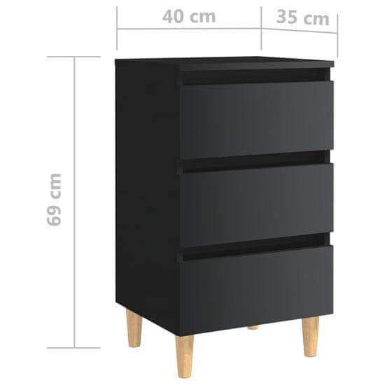 shumee Nočné stolíky s drevenými nohami 2 ks lesklé čierne 40x35x69 cm