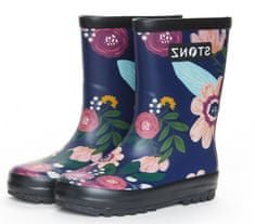 Stonz dekliški škornji Rain Boots Wildflower RBWFNVBL, 25, temno modri