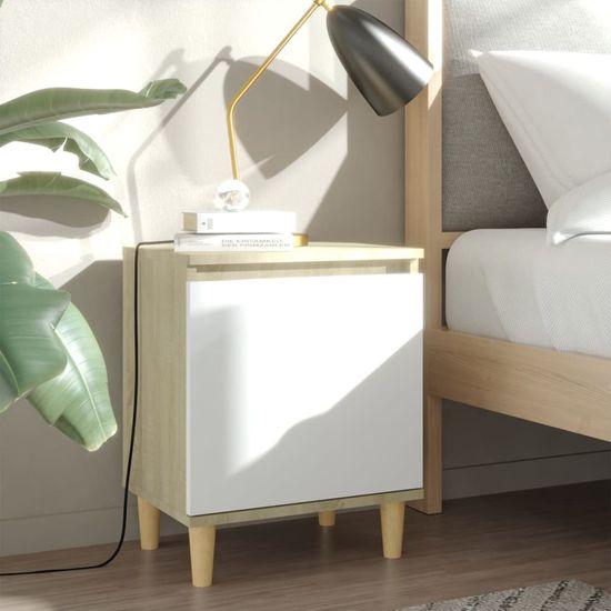shumee Nočný stolík s drevenými nohami dub sonoma a biely 40x30x50 cm