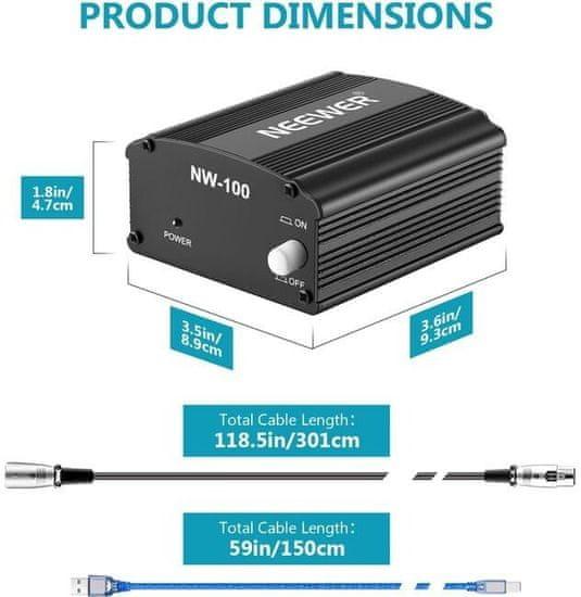 Neewer Fantómový USB napájač mikrofónu