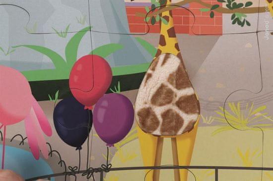 Janod Puzzle dotykové Deň v zoologickej záhrade s textúrou 20 ks