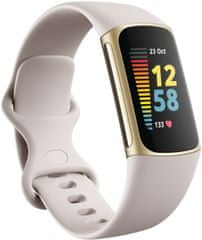 Fitbit Charge 5, Lunar White/Soft Gold Stainless Steel