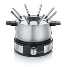 Severin Fondue , FO 2471, 2v1, přídavný talíř na palačinky, vyjímatelný hrnec, plynulý termostat, 8 barevných vidliček, 1500 W