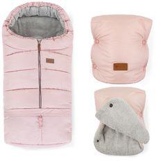 Zimní set fusak Jibot 3v1 + rukavice na kočárek Jasie Flamingo Pink