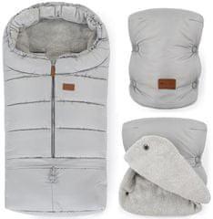 Petite&Mars Zimní set fusak Jibot 3v1 + rukavice na kočárek Jasie světle Steel Grey