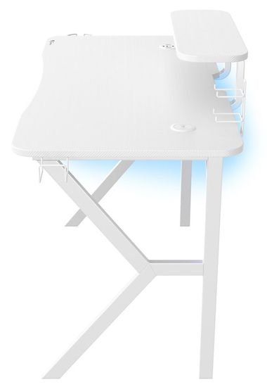 Genesis herní bílý stůl HOLM 320 RGB (NDS-1802)