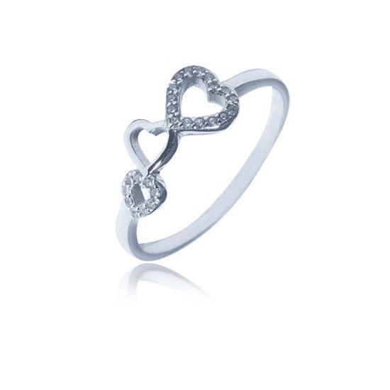 JVD Romantický strieborný prsteň so zirkónmi SVLR0330XH2BI striebro 925/1000