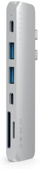 Satechi Pro hub, USB-C, 7 vhodov, srebrn