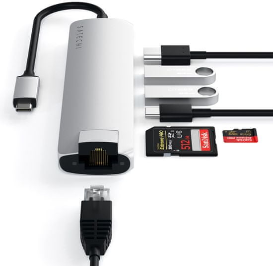 Satechi Slim hub, USB-C, 7 vhodov, srebrn