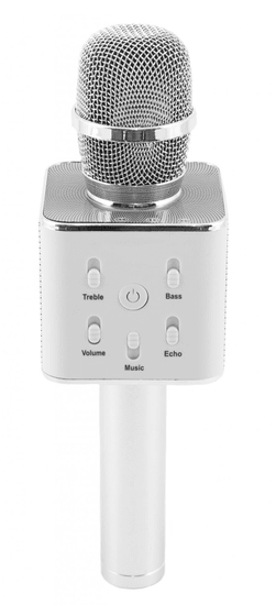 Teddies srebrni plastični mikrofon za karaoke, 25 cm