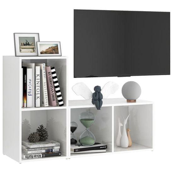 shumee TV skrinky 2 ks lesklé biele 72x35x36,5 cm drevotrieska