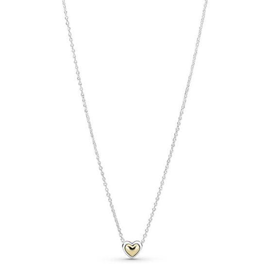Pandora Srebrna ogrlica z dvobarvnim srcem 399399c00-45 (veriga, obesek) srebro 925/1000