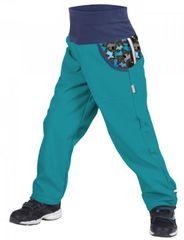 Unuo dětské softshellové kalhoty s fleecem - Pejsci 98/104 modrá