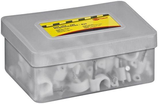 Fixpoint Držiak káblov s klincom, šedý, 9,4 mm, pre káble do 8mm, balenie 100ks; 17123