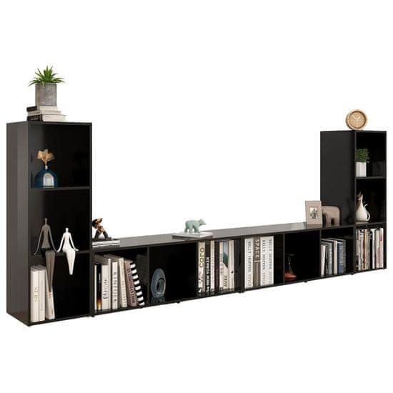 shumee 4 db fekete forgácslap TV-szekrény 107 x 35 x 37 cm