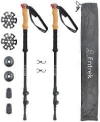 pohodne treking palice, aluminijaste, 3-delne, 66 - 135 cm, črne