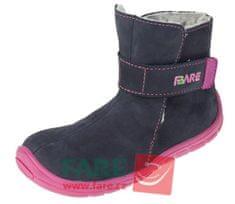 Fare dívčí zimní kotníčková barefoot obuv 5142201 tmavě modrá 23
