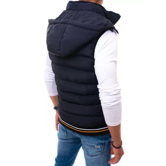 Manstyle Pánska zimná vesta prešívaná s kapucňou tmavo modrá GO tx3793 M