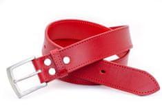 Sedlář Tlustý Červený kožený opasek PREMIUM s nerez sponou o šíři 35mm, 90cm
