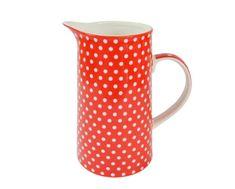 Isabelle Rose Porcelánový džbán červený s puntíky 1000 ml