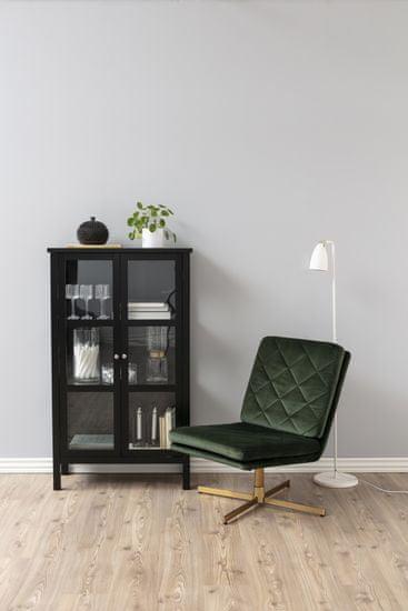 Design Scandinavia Vitrína Eton II, 136,5 cm, čierna