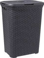 Curver Ratan koš za perilo, 60 l, temno siv