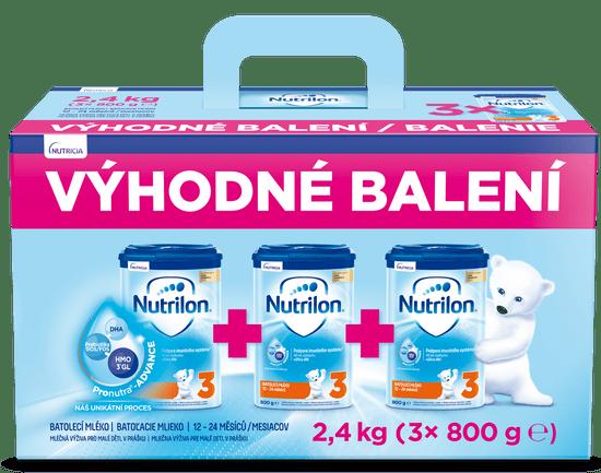 Nutrilon 3 batoľacie mlieko 3x 800 g, 12+ - výhodné balenie