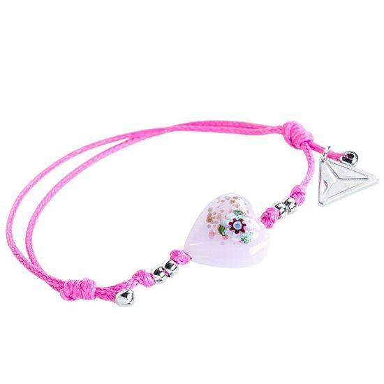 Lampglas Hravý náramok Pink Flower s unikátnou kresbou v perle Lampglas BLH11