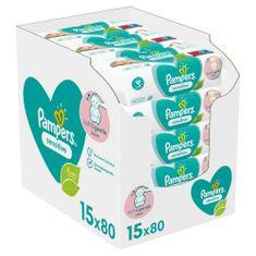 Pampers Sensitive Baby dětské čisticí ubrousky 15 balení = 1200 čisticích ubrousků