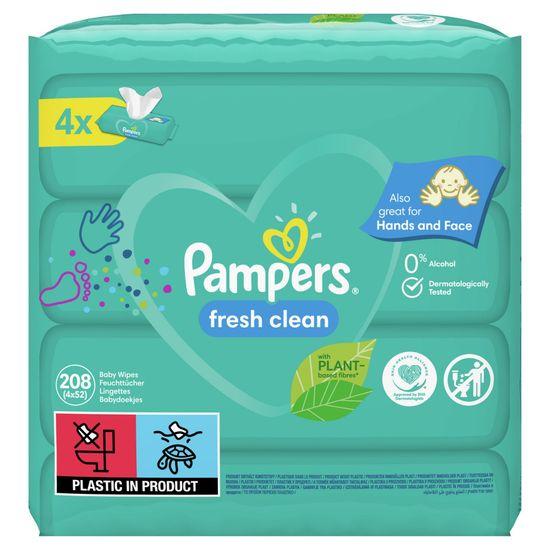 Pampers Fresh Clean vlažilni robčki, 4x 52 kosov