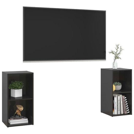 shumee 2 db magasfényű fekete forgácslap TV-szekrény 72 x 35 x 36,5 cm