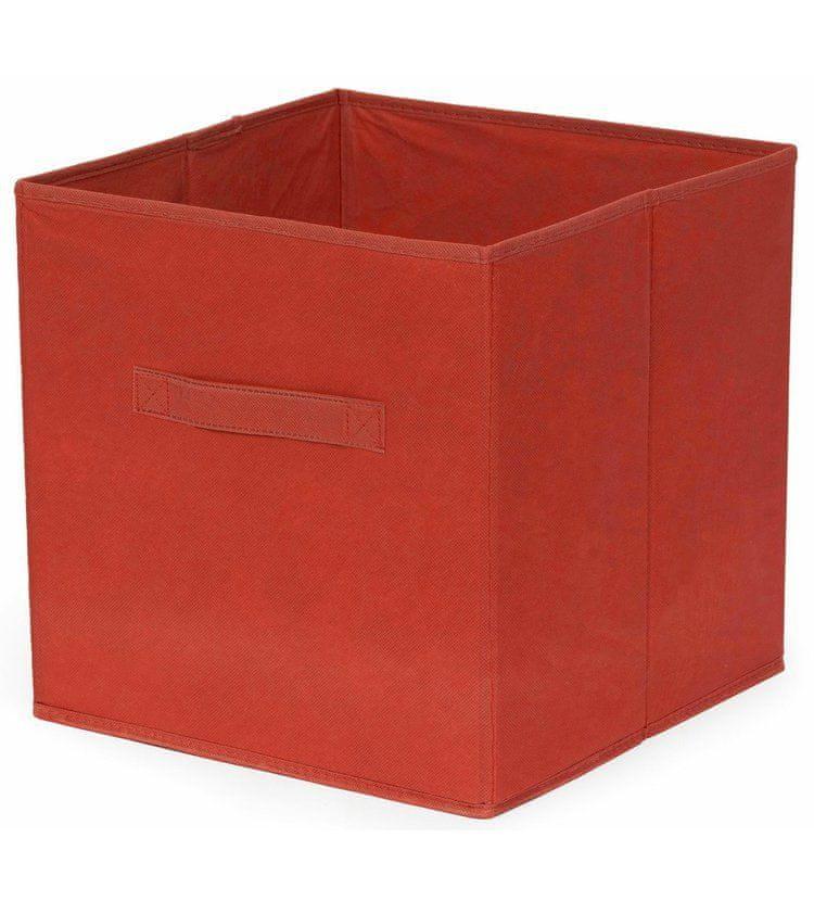Compactor Skládací úložný box pro police a knihovny, polypropylen, 31x 31x 31 cm, červený
