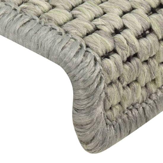 shumee 15 db szizál hatású szürke öntapadó lépcsőszőnyeg 65 x 25 cm