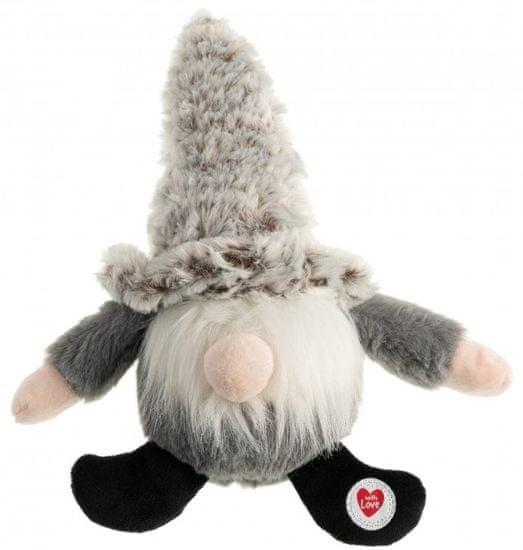 Gimborn Hračka plyšový trpaslík s pískátkom a hrkajúce čiapočkou, sivý, 30,5 cm