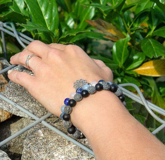 Beneto Obrúbený náramok z lávového kameňa a achátu MINK101