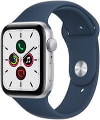 Apple Watch SE, 44 mm Silver Aluminium Case with Abyss Blue Sport Band (MKQ43HC/A)