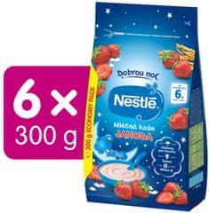 Nestlé Mléčná kaše Jahoda Dobrou noc, 6x 300 g