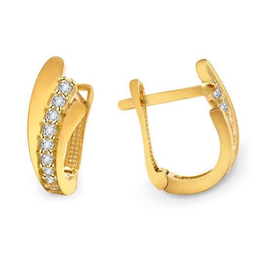 Beneto Exclusive Elegáns arany fülbevaló cirkónium kővel AUP0009