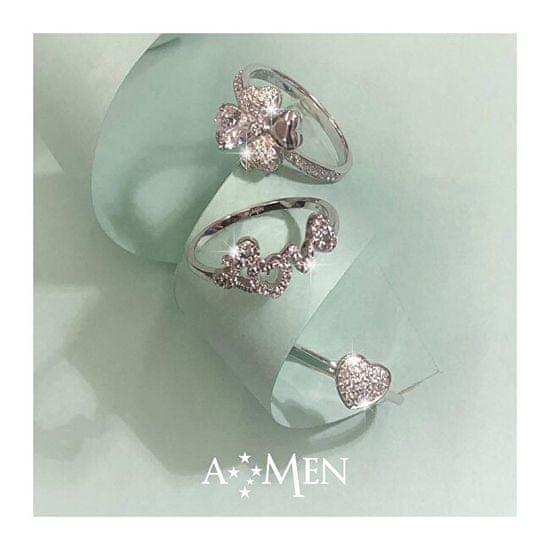 Amen Original prstan iz srebra z cirkoni Love RQUBB srebro 925/1000
